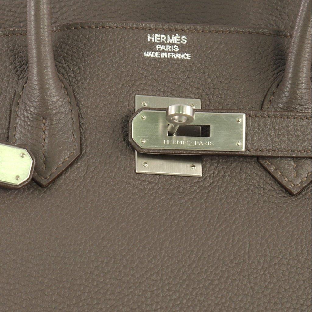 9a4b41cdedc Hermes Replica Birkin Handbag Etain Togo with Brushed Palladium Hardware 35