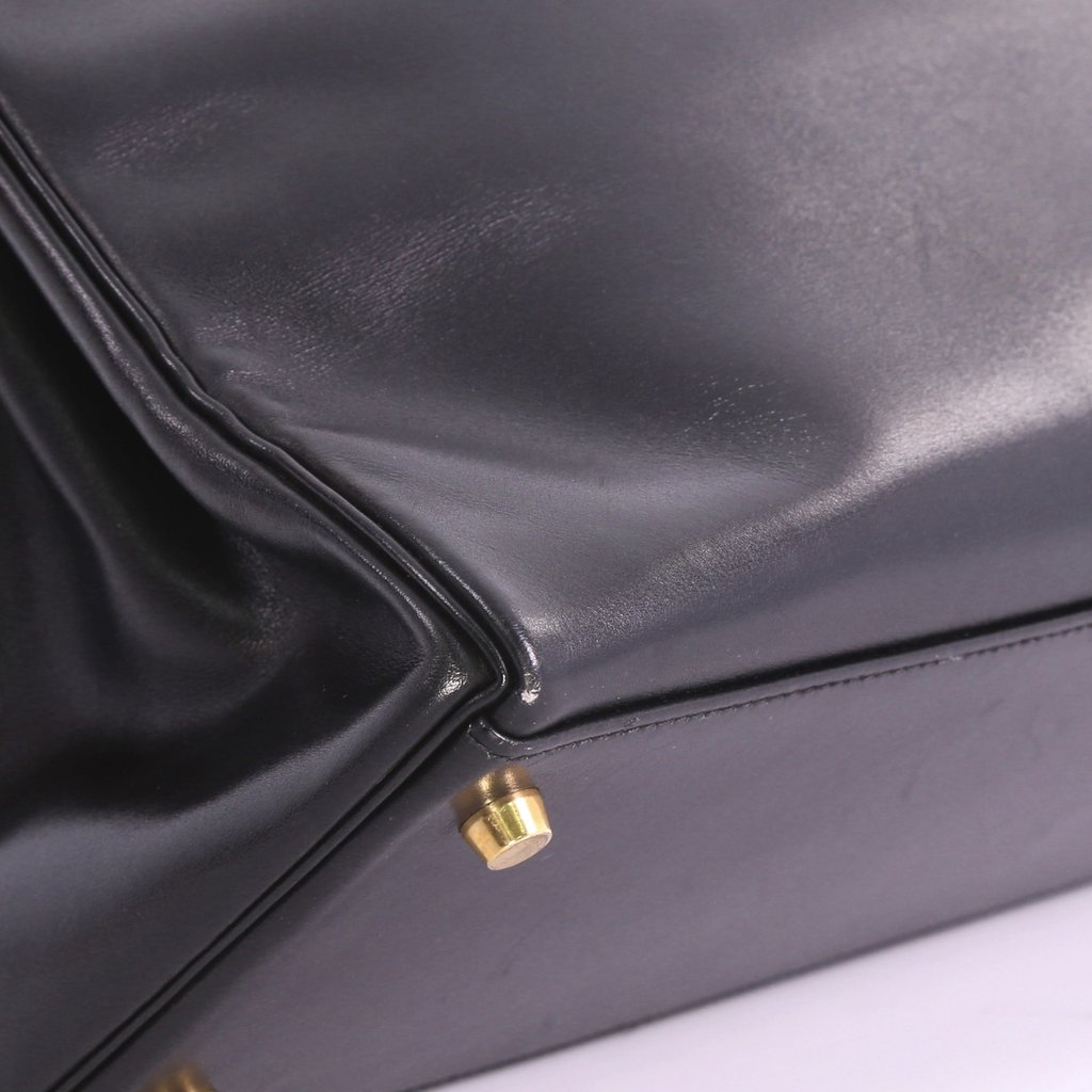 a232c66398c3 Hermes Replica Kelly Handbag Black Box Calf with Gold Hardware 35 ...