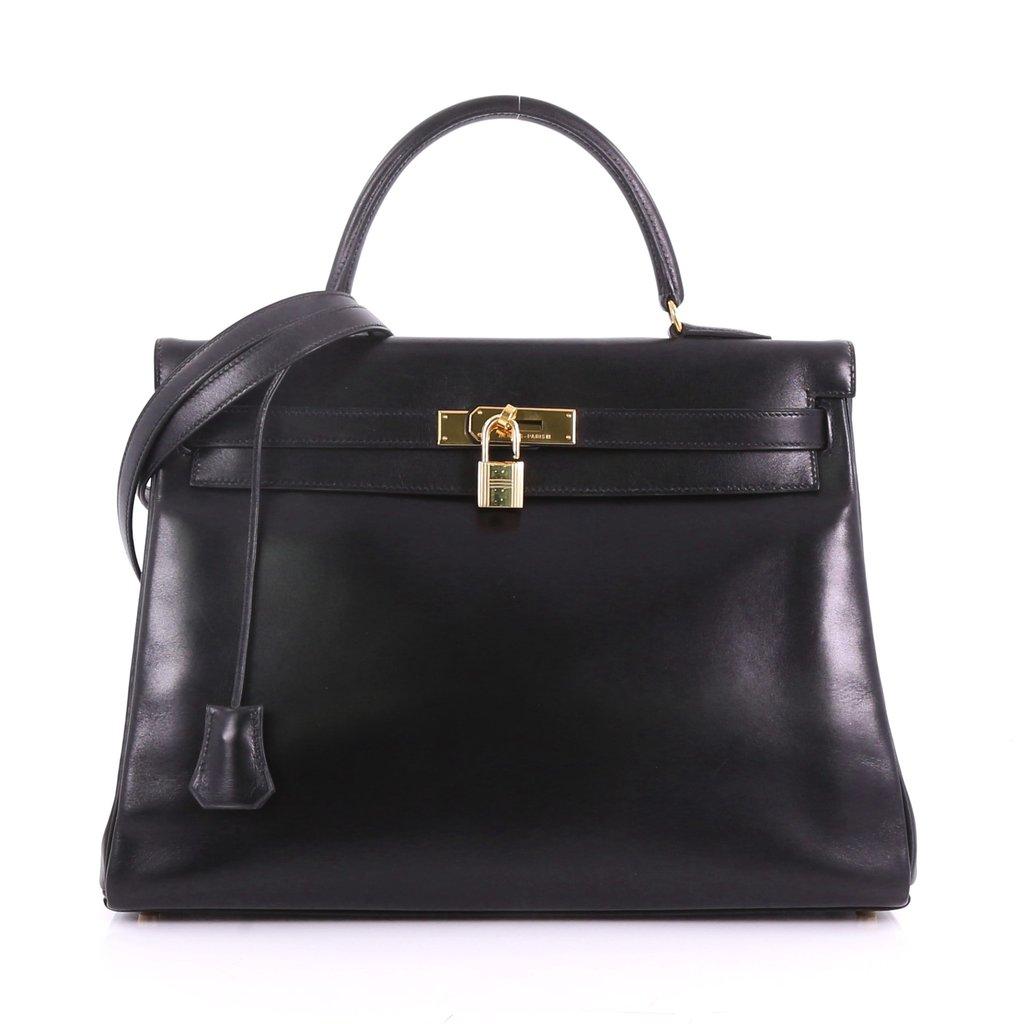 Hermes Replica Kelly Handbag Black Box Calf with Gold Hardware 35 ... 404754629e91a